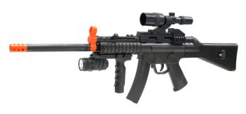 Spring Spec Ops Long Barrel MP5 Submachine Gun FPS-280 Fore Grip, Flashlight Airsoft Gun