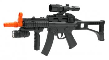 Spring SWAT MP5 Submachine Gun FPS-285 Fore Grip, Flashlight Airsoft Gun