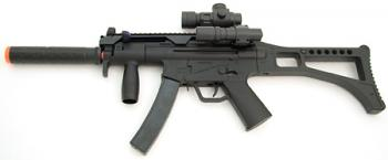 Spring Well MP5 Sub Machine Gun FPS-200, Scope, Tactical Light, Foregrip, Silencer, Open Stock Airsoft Gun
