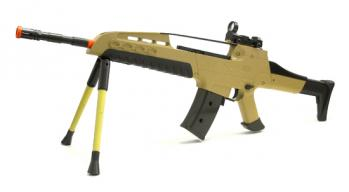 Spring Tactical XM8 Assault Rifle FPS-300 Bipod, Red Dot Sight, Silencer, Double Mag Airsoft Gun