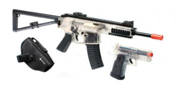 Spring Crosman Defender Elite Rifle FPS-350 and Spring Pistol FPS-200 Clear Airsoft Gun