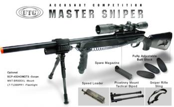 UTG Gen 5 Spring Sniper Rifle Accushot Competition Master Model 700 Pro with Upgraded Bolt FPS-450, Bipod, Airsoft Gun